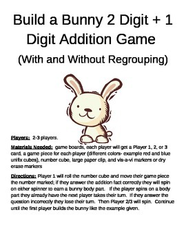 Build a Bunny 2 Digit + 1 Digit Addition Game With and Without Regrouping
