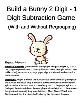 Build a Bunny 2 Digit - 1 Digit Subtraction Game With and Without Regrouping