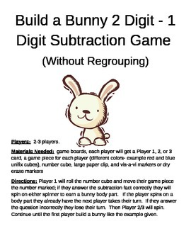 Build a Bunny 2 Digit - 1 Digit Subtraction Game Without Regrouping
