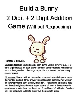 Build a Bunny 2 Digit Addition Without Regrouping Game