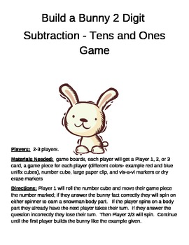 Build a Bunny 2 Digit Subtraction Minus TENS and ONES game