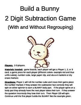 Build a Bunny 2 Digit Subtraction With and Without Regrouping Game