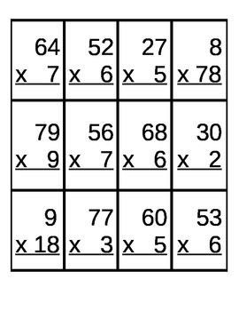 Build a Bunny 2 Digit x 1 Digit Multiplication Game