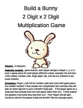 Build a Bunny 2 Digit x 2 Digit Multiplication Game