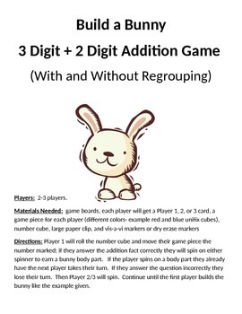 Build a Bunny 3 + 2 Digit Addition With and Without Regrouping Game