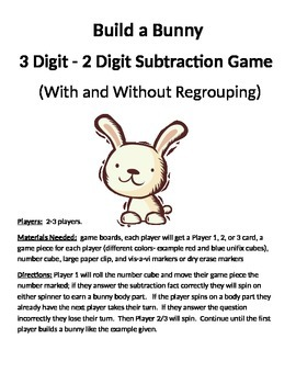 Build a Bunny 3 - 2 Digit Subtraction With and Without Regrouping Game