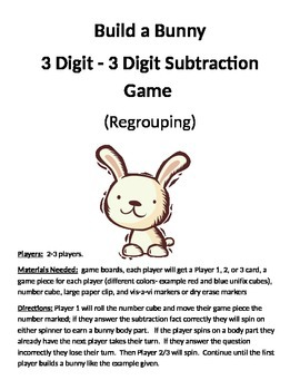 Build a Bunny 3 - 3 Digit Subtraction Regrouping Game