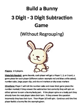 Build a Bunny 3 - 3 Digit Subtraction Without Regrouping Game