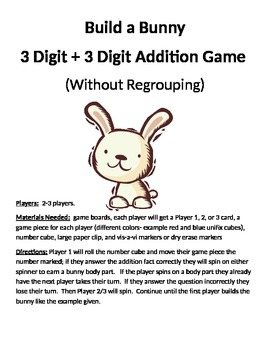 Build a Bunny 3 Digit + 3 Digit Addition Without Regrouping Game