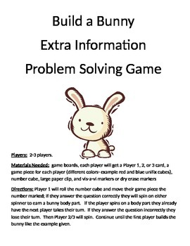 Build a Bunny Addition Extra Information Word Problems (1