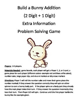 Build a Bunny Addition Extra Information Word Problems (2 digit + 1 digit)