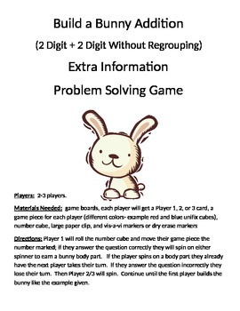 Build a Bunny Extra Information Word Problems (2 digit without regrouping)