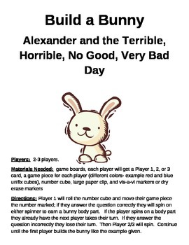 Build a Bunny Alexander and the Terrible, Horrible, No Good, Very Bad Day