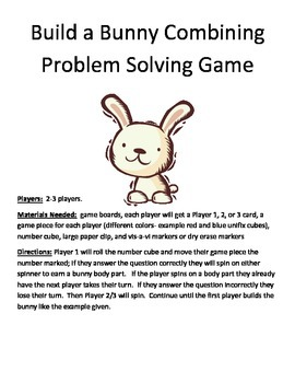 Build a Bunny Combining Word Problems 1 Digit + 1 Digit