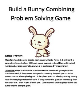 Build a Bunny Combining Word Problems (1 digit + 1 digit)