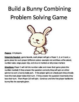Build a Bunny Combining Word Problems (1 digit + 1 digit) set 2