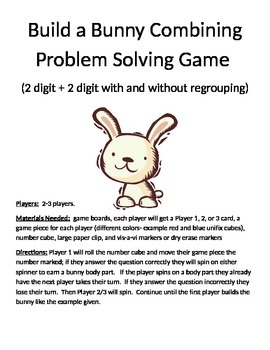 Build a Bunny Combining Word Problems (2 digit with and without regrouping)