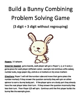 Build a Bunny Combining Word Problems 3 Digit + 3  Digit Without Regrouping