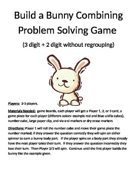 Build a Bunny Combining Word Problems (3 digit + 2 digit without regrouping)