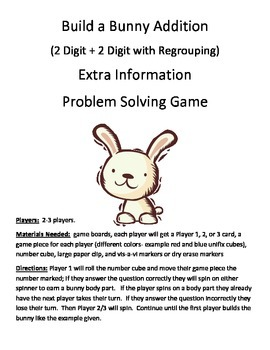 Build a Bunny Extra Information Word Problems 2 Digit + 2 Digit Regrouping