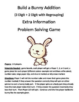Build a Bunny Extra Information Word Problems (3 digit + 2 digit regrouping)