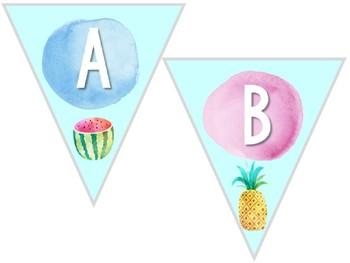 Build a Bunting Banner: Tropical Watercolor Classroom Decor
