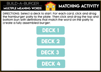 Build - a - Burger Multiple Meaning Words