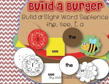 Build a Burger Sight Word Sentences - Set 1 - the, a, I, s