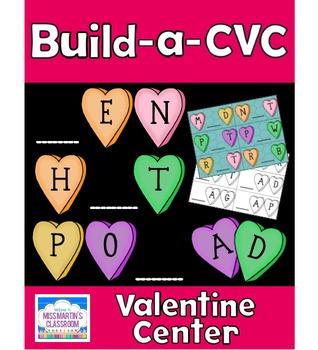 CVC Word Building Center - Valentine's Day