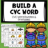 Build a CVC Word- Short Vowel Sound Puzzles and CVC Worksheets
