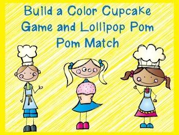 Build a Color Cupcake Game and Lollipop Pom Pom Match