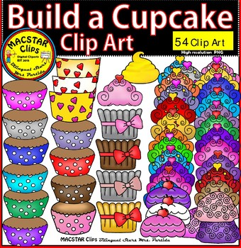 Build a Cupcake Clip Art  Personal and Commercial Use