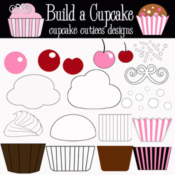 Build a Cupcake- Designer Digital Clip Art Elements