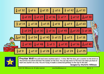 Build a Fraction Wall finding simple fractions of numbers