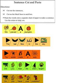 Build Halloween Sentence Language Arts Cut & Paste Puzzle;