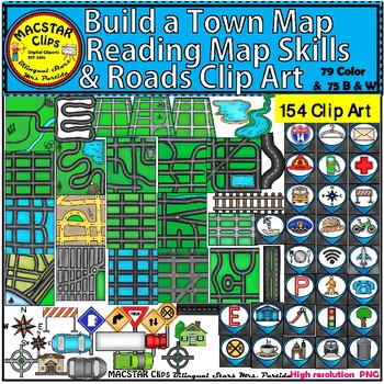 Build a Town Map - Reading Map Skills & Roads Clip Art