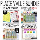 Place Value Bundle: Challenging Task Cards, Menu, Games 2nd Gr.