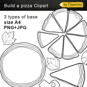 Build a Pizza Clip art: BW Black White