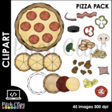 Build a Pizza Pack - Pizza clipart - Pizza clip art - Pizza Fractions