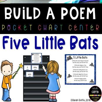 Build a Poem 5 Little Bats - Pocket Chart Poem
