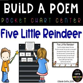 Build a Poem ~ 5 Little Reindeer - Pocket Chart Poetry Center