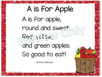 Build a Poem ~ A is for Apple ~ FREE Pocket Chart Center