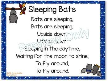 Build a Poem Sleeping Bats - Pocket Chart Poem