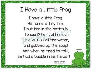 Build a Poem ~ I Have a Little Frog ~ Pocket Chart Center