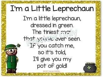 Build a Poem ~ I'm a Little Leprechaun ~ St. Patrick's Day Pocket Chart Center