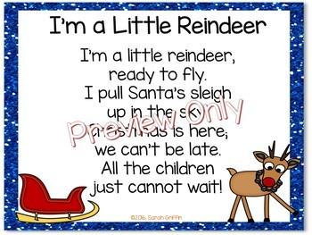 Build a Poem ~ I'm a Little Reindeer ~ Christmas pocket chart poetry center