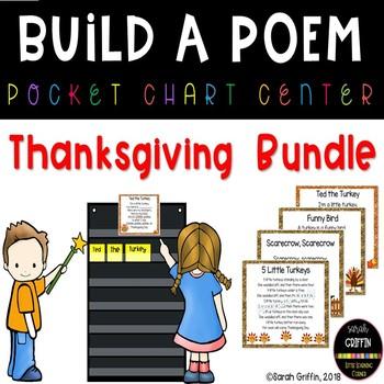 Build a Poem Thanksgiving Pocket Chart Centers - Bundle