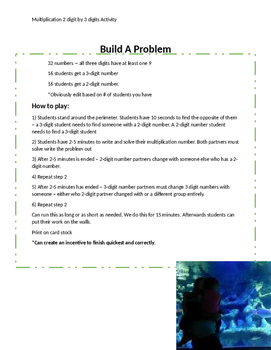 Build a Problem Multiplication Activity
