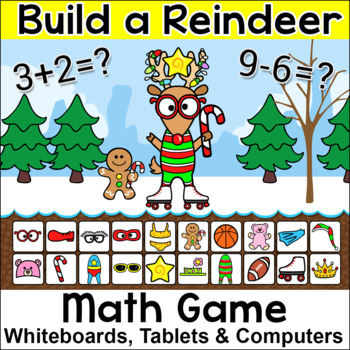 Christmas Math Addition and Subtraction Build a Reindeer Game for SmartBoards