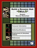"RESUME WORKSHEET (PDF Version):  ""Build a Resume That S-E-L-L-S . . ."""